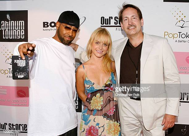 Richard Guiton , Actress Taryn Manning and Gary Lafever arrive at the Hollywood launch of PlatinumLounge.com at The Globe Theatre July 7, 2007 in Los...