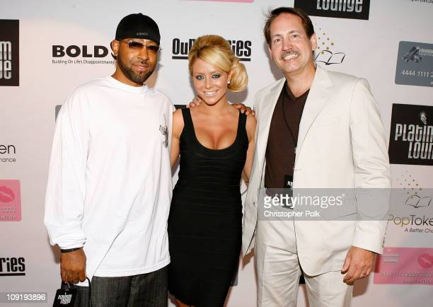 Richard Guiton , singer Aubrey O'Day and Gary Lafever arrive at the Hollywood launch of PlatinumLounge.com at The Globe Theatre on July 7, 2007 in...