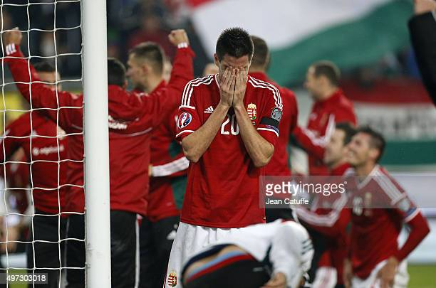 Richard Guzmics of Hungary celebrates the qualification of Hungary for EURO 2016 after the victory in the UEFA EURO 2016 qualifier playoff second leg...