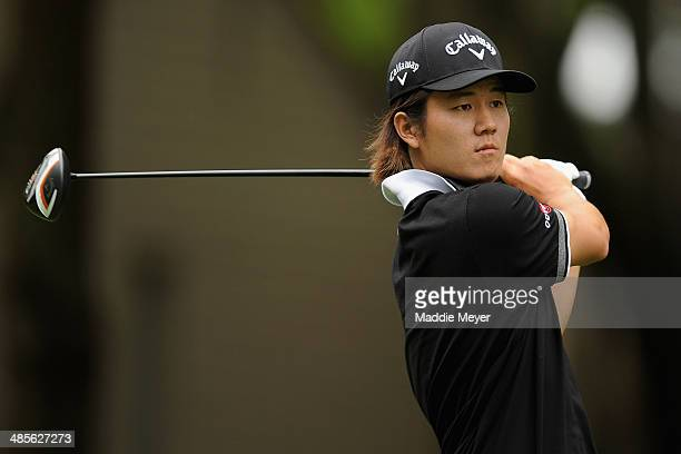 Richard H Lee hits a tee shot on the 2nd hole during the third round of the RBC Heritage at Harbour Town Golf Links on April 19 2014 in Hilton Head...