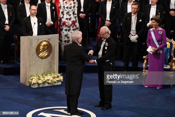 Richard H Thaler laureate of the Sveriges Riksbank Prize in economic sciences in memory of Alfred Nobel receives his Nobel Prize from King Carl XVI...