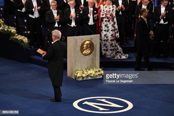 Richard H Thaler laureate of the Sveriges Riksbank Prize in economic sciences in memory of Alfred Nobel aknowledges applause after he received his...