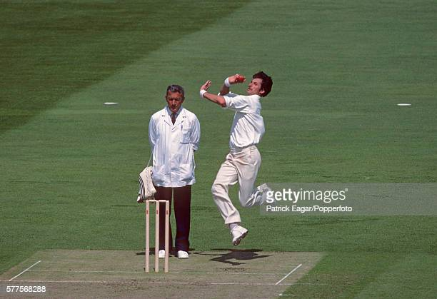 Richard Hadlee bowling for New Zealand during the Prudential World Cup match between England and New Zealand at The Oval London 9th June 1983