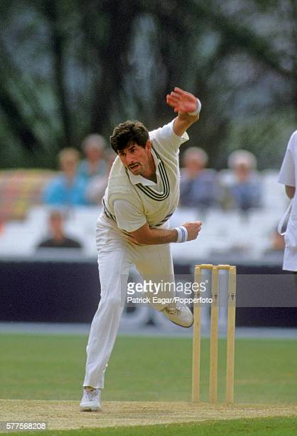 Richard Hadlee of New Zealand bowling for the tour match between Worcestershire and New Zealand at Worcester 12th May 1990