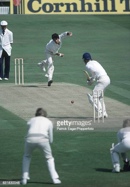 Richard Hadlee of New Zealand bowling to Graeme Fowler of England during the 2nd Test match between England and New Zealand at Headingley Leeds 28th...