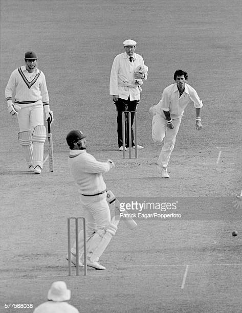 Richard Hadlee of New Zealand bowling to Mike Gatting of England during the 2nd Test match between New Zealand and England at Christchurch New...