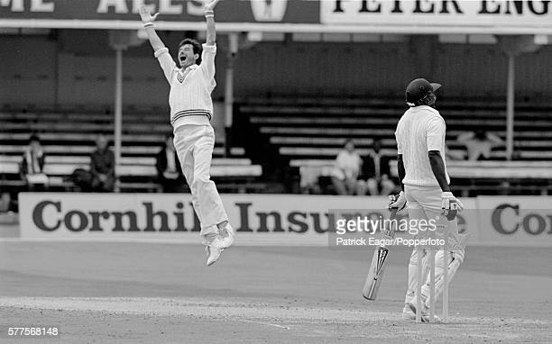 Richard Hadlee of New Zealand gets England batsman Gladstone Small lbw during the 2nd Test match between England and New Zealand at Trent Bridge...