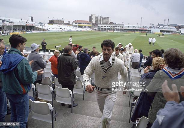 Richard Hadlee of New Zealand leads the team off the field during the 1st Test match between England and New Zealand at Trent Bridge Nottingham 11th...