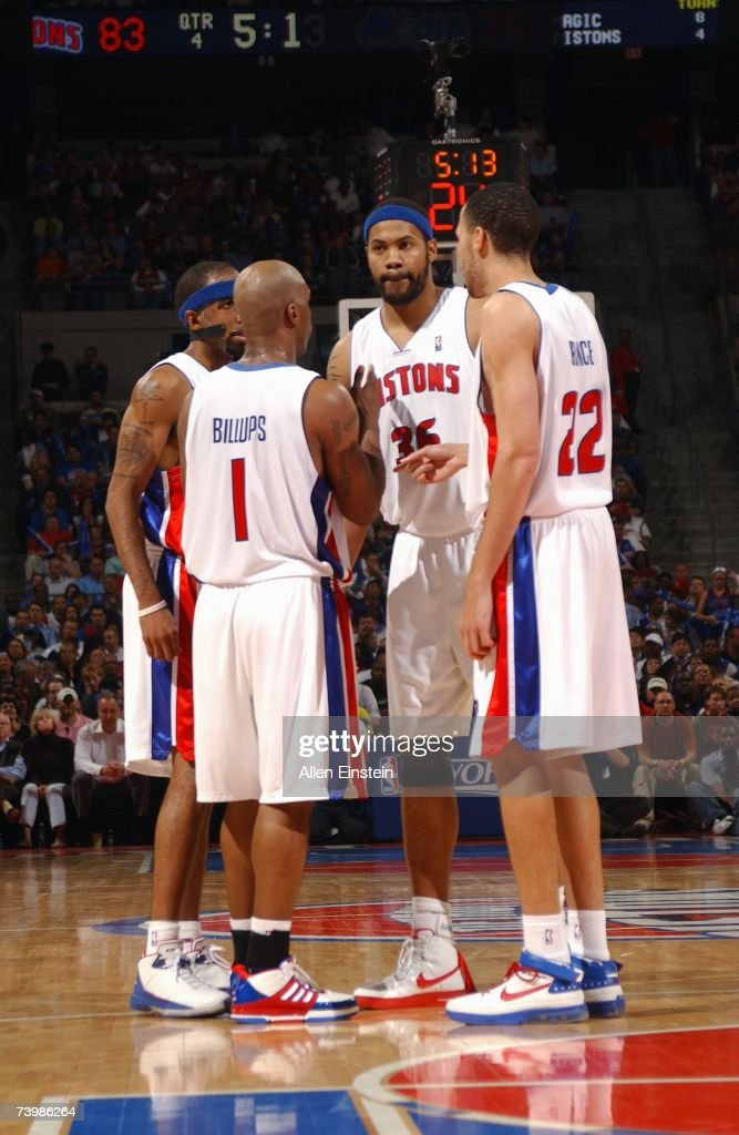 Richard Hamilton #32, Chauncey Billups #1, Rasheed Wallace #36 and Tayshaun Prince #22 of the Detroit Pistons huddle in Game Two of the Eastern Conference Quarterfinals against the Orlando Magic during the 2007 NBA Playoffs at the Palace of Auburn Hills on April 23, 2007 in Auburn Hills, Michigan. The Pistons won 98-90.