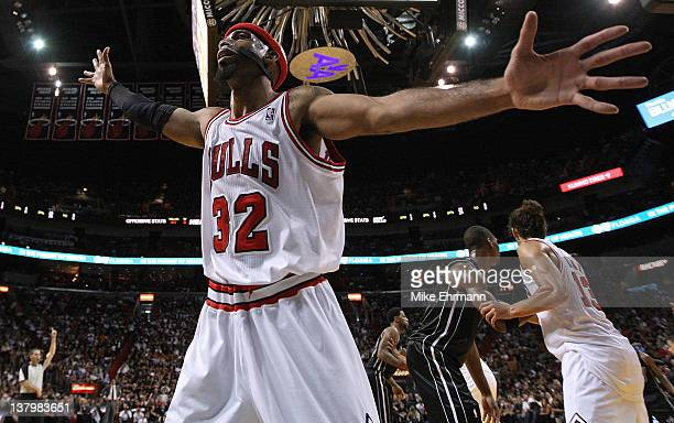Richard Hamilton of the Chicago Bulls guards the inbound pass during a game against the Miami Heat at American Airlines Arena on January 29 2012 in...