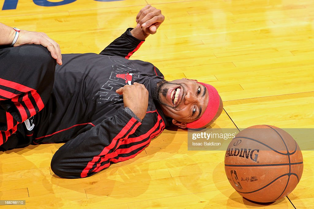 Richard Hamilton #32 of the Chicago Bulls stretches before playing against the Miami Heat in Game One of the Eastern Conference Semifinals during the 2013 NBA Playoffs on May 6, 2013 at American Airlines Arena in Miami, Florida.