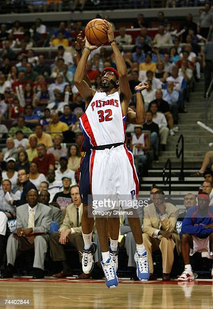 Richard Hamilton of the Detroit Pistons attempts a shot against the Cleveland Cavaliers in Game Five of the Eastern Conference Finals during the 2007...