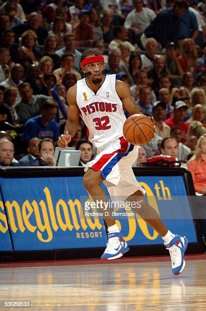 Richard Hamilton of the Detroit Pistons dribbles during a game against the San Antonio Spurs in Game four of the 2005 NBA Finals on June 16 2005 at...
