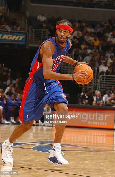Richard Hamilton of the Detroit Pistons dribbles the ball against the Washington Wizards during the game at MCI Center on February 1 2005 in...
