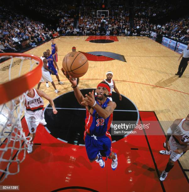 Richard Hamilton of the Detroit Pistons drives to the basket during a game against the Portland Trail Blazers at The Rose Garden on March 1 2005 in...