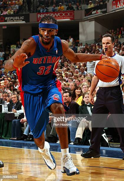 Richard Hamilton of the Detroit Pistons drives to the basket during Game one of the Eastern Conference Finals during the 2004 NBA Playoffs on May 22...