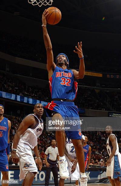 Richard Hamilton of the Detroit Pistons drives to the basket in a game against the Washington Wizards on December 29 2004 at the MCI Center in...