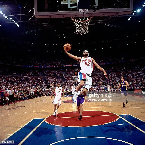 Richard Hamilton of the Detroit Pistons goes for a dunk in Game Five of the 2004 NBA Finals on June 15, 2004 at The Palace of Auburn Hills in Auburn...