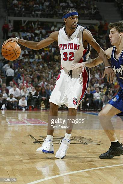 Richard Hamilton of the Detroit Pistons is defended by Gordan Giricek of the Orlando Magic in Game one of the Eastern Conference Quarterfinals during...