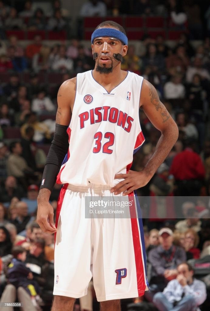 Richard Hamilton #32 of the Detroit Pistons looks on during the game against the Atlanta Hawks at the Palace of Auburn Hills on December 14, 2007 in Auburn Hills, Michigan. The Pistons won 91-81.