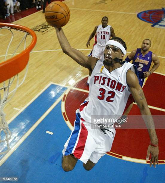 Richard Hamilton of the Detroit Pistons makes a shot against the Los Angeles Angeles during first half action in game five of the 2004 NBA...