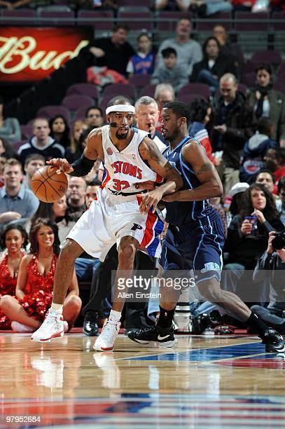 Richard Hamilton of the Detroit Pistons posts up against Wesley Matthews of the Utah Jazz during the game at the Palace of Auburn Hills on March 10...