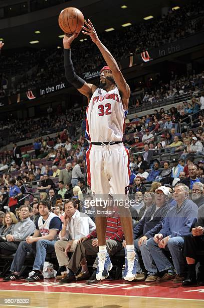 Richard Hamilton of the Detroit Pistons shoots a jump shot during the game against the Indiana Pacers at the Palace of Auburn Hills on March 23 2010...