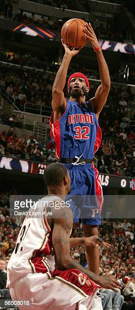 Richard Hamilton of the Detroit Pistons shoots over Damon Jones of the Cleveland Cavaliers on December 31 2005 at The Quicken Loans Arena in...