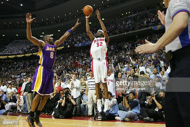Richard Hamilton of the Detroit Pistons shoots over Kobe Bryant of the Los Angeles Lakers in Game three of the 2004 NBA Finals on June 10, 2004 at...