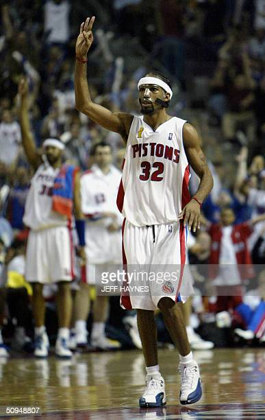 Richard Hamilton of the Detroit Pistons signals '3' after one of his three point baskets against the Los Angeles Lakers during the second half of...