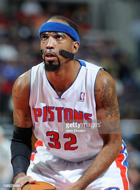 Richard Hamilton of the Detroit Pistons stands at the free throw line during a game against the Charlotte Bobcats on November 5 2010 at The Palace of...