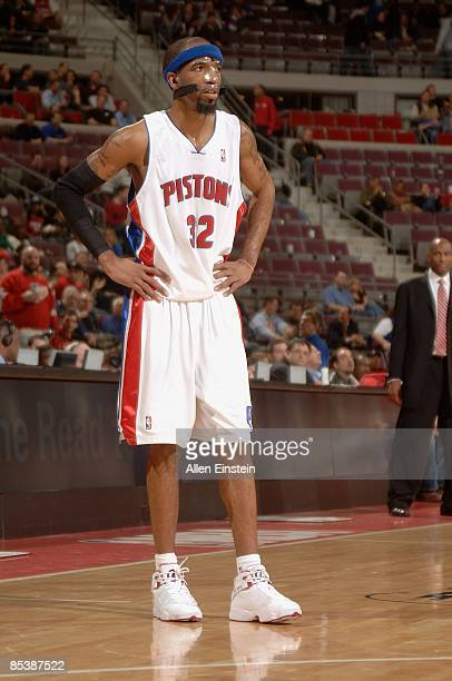Richard Hamilton of the Detroit Pistons takes a break from the action during the game against the Atlanta Hawks on February 11 2009 at The Palace of...