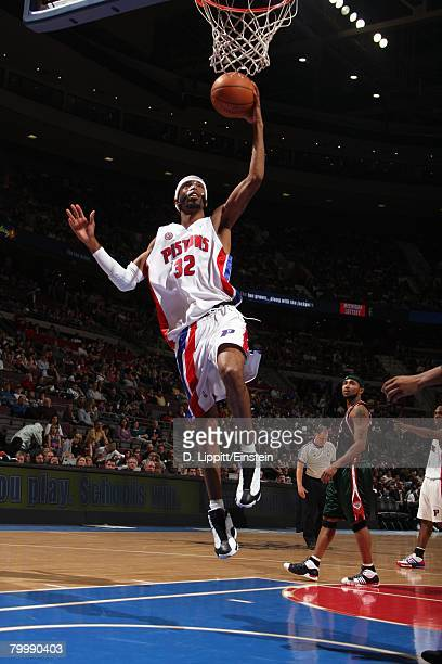 Richard Hamilton of the Detroit Pistons takes the ball to the basket during the game against the Milwaukee Bucks at the Palace of Auburn Hills on...