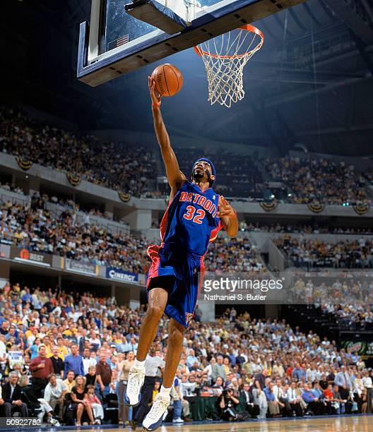 Richard Hamilton of the Detroit Pistons takes the layup against the Indiana Pacers in Game Two of the Eastern Conference Semifinals during the 2004...