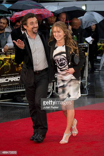 Richard Hammond and his wife Amanda Etheridge attends the UK Premiere of 'Sicario' at Empire Leicester Square on September 21 2015 in London England
