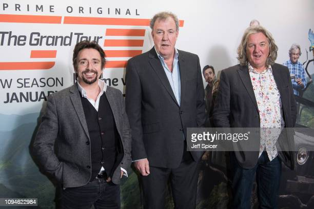 Richard Hammond, Jeremy Clarkson and James May attend a screening of 'The Grand Tour' season 3 held at The Brewery on January 15, 2019 in London,...