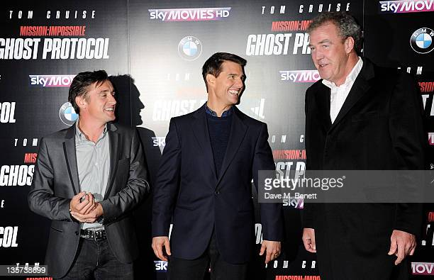 Richard Hammond Tom Cruise and Jeremy Clarkson attend the UK Premiere of 'Mission Impossible Ghost Protocol' at BFI IMAX on December 13 2011 in...