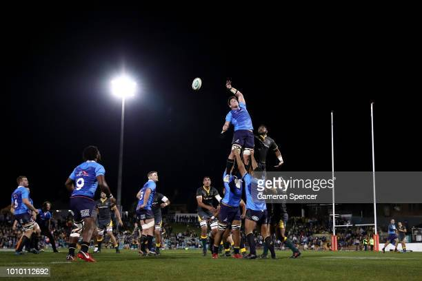 Richard Hardwick of the Australian Super Selection takes a lineout ball during the Wallabies Internal trial match between Cheika's Choice and the...