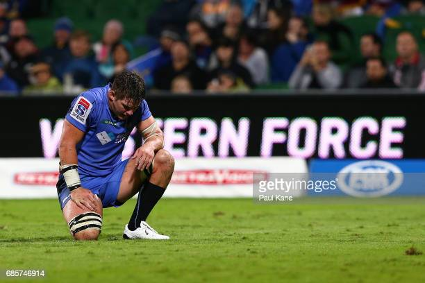 Richard Hardwick of the Force reacts after Highlander try during the round 13 Super Rugby match between the Force and the Highlanders at nib Stadium...