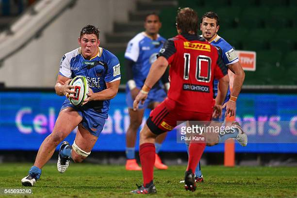 Richard Hardwick of the Force runs the ball during the round 16 Super Rugby match between the Force and the Stormers at nib Stadium on July 9 2016 in...