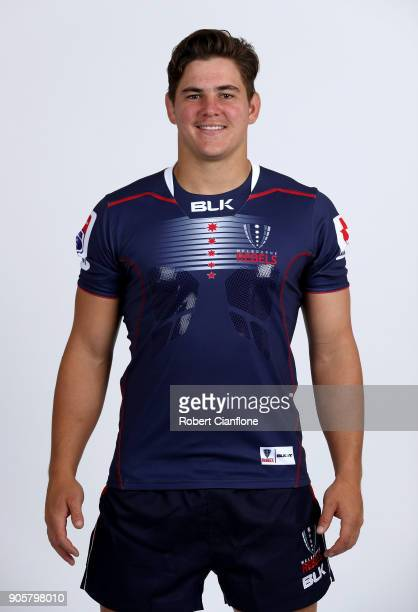 Richard Hardwick of the Rebels poses during the Melbourne Rebels Super Rugby headshots session at AAMI Park on January 17 2018 in Melbourne Australia