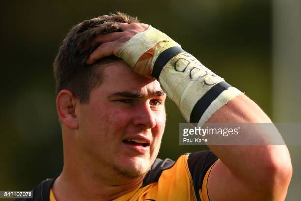 Richard Hardwick of the Spirit looks on during the round one NRC match between Perth Spirit and Melbourne Rising at McGillivray Oval on September 3...