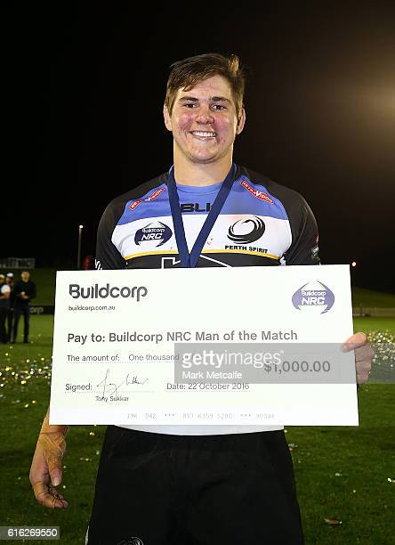 Richard Hardwick of the Spirit poses with the player of the match award during the 2016 NRC Grand Final match between the NSW Country Eagles and...