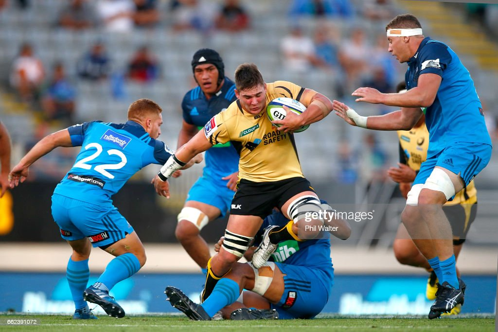 Richard Hardwick of the Western Force is tackled during the round six Super Rugby match between the Blues and the Force at Eden Park on April 1, 2017 in Auckland, New Zealand.
