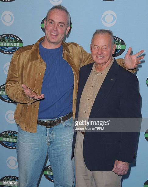 Richard Hatch and Rudy Boesch arrive at the CBS Survivor 10 Year Anniversary Party on January 9 2010 in Los Angeles California