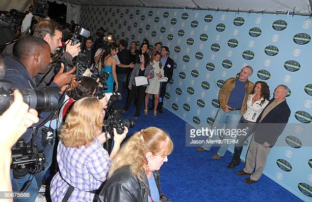 Richard Hatch Jerri Manthey and Rudy Boesch arrive at the CBS Survivor 10 Year Anniversary Party on January 9 2010 in Los Angeles California