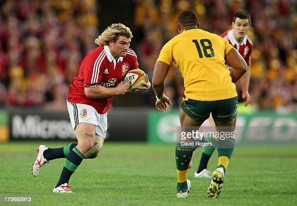 Richard Hibbard of the Lions charges upfield during the International Test match between the Australian Wallabies and British Irish Lions at ANZ...