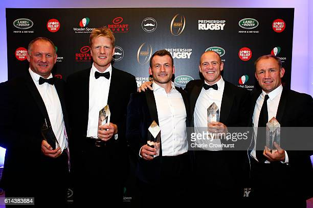 Richard Hill Hugh Vyvyan Mark Cueto Mike Tindall and Neil Back all poses for a photo with their awards after having been inducted into the hall of...
