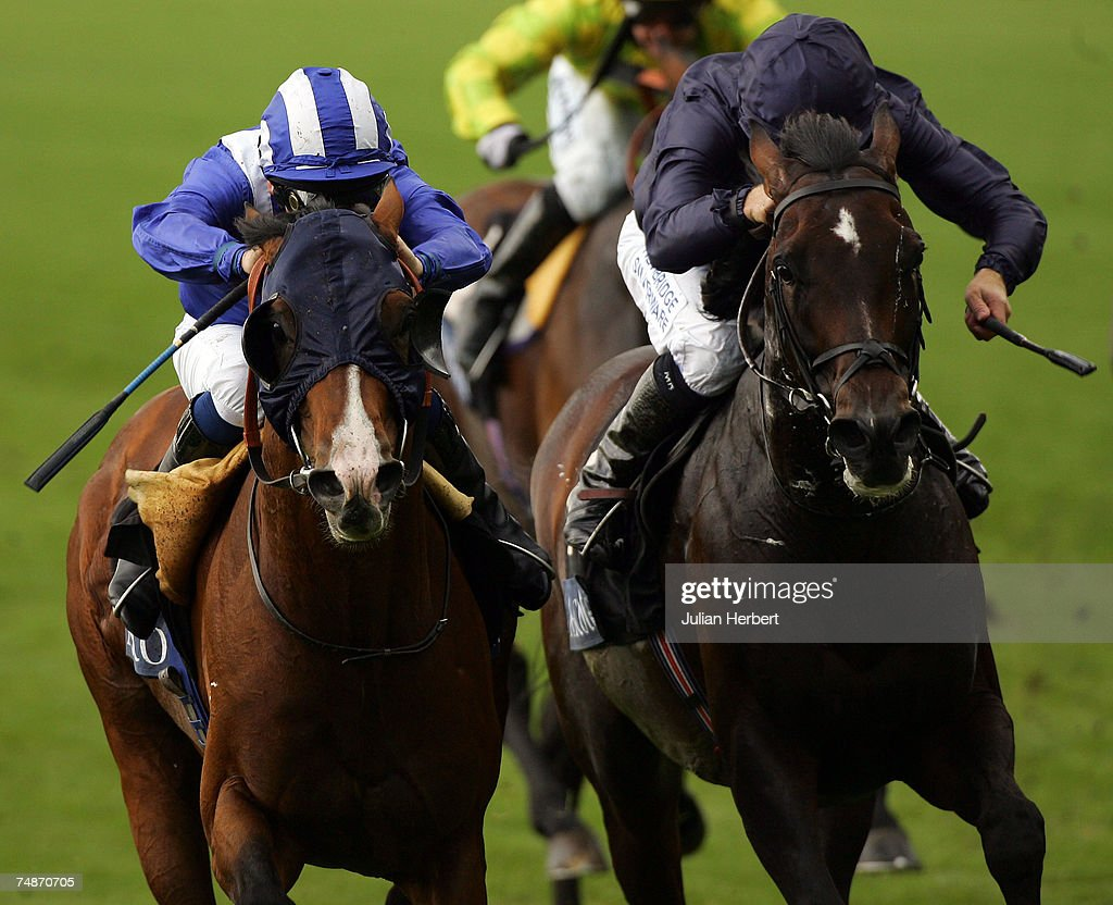 Richard Hills and Maraahel (L) get the better of the Mick Kinane ridden Scorpion to land The Hardwicke Stakes Race run at Ascot Racecourse during the fifth day of The Royal Meeting held at the Berkshire track on June 23, 2007, in Ascot, England.