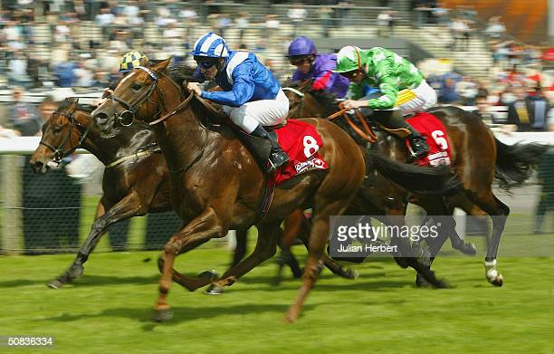 Richard Hills and So Will I land The Cantor Sport Carnarvon Stakes Race run at Newbury Racecourse on May 14 2004 in Newbury England